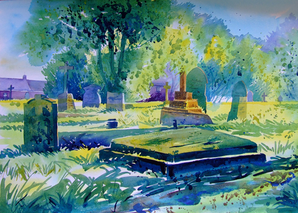 Discovered over the weekend that this painting 'St. Hilary Graveyard' was selected by The Artists And Illustrators magazine as their 'picture of the month' and published in their February 2014 edition