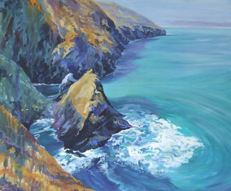 Fine Art Giclee Print, St Agnes, Cornwall, from an original in Acrylic. Image size 38x32cm, unmounted. £29.00 plus £10.00 p+p